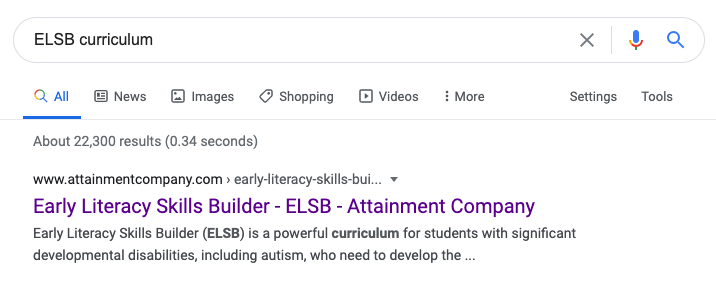 Google search for ELSB Curriculum