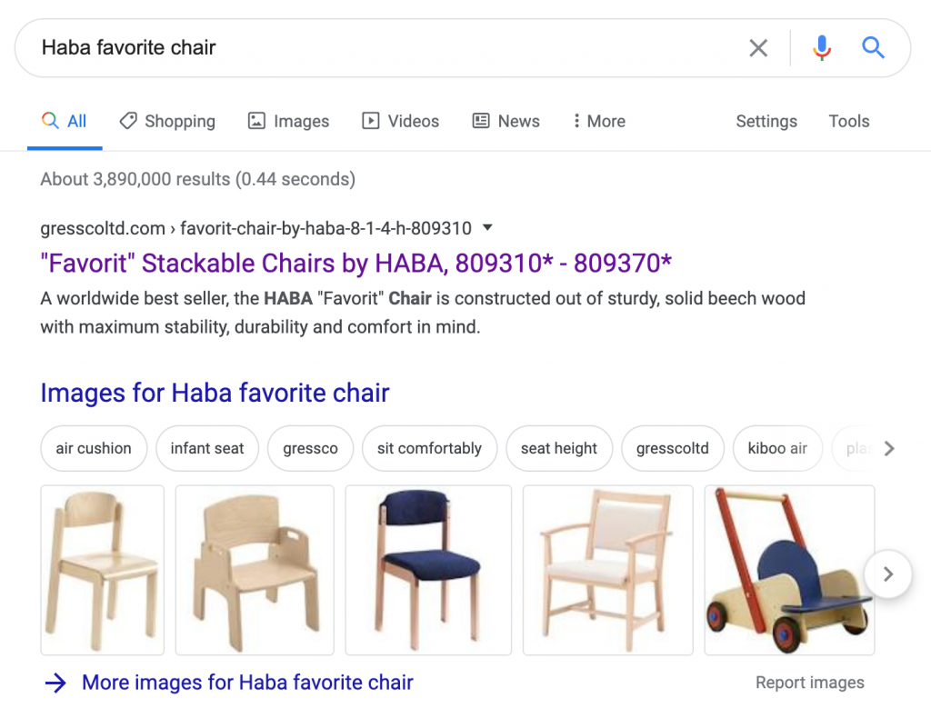Google search results for Haba Favorit Chair